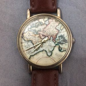 UO World Map Brown Authentic Watch